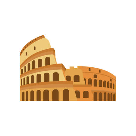Roman Coliseum ruins tourist landmark, flat vector illustration isolated.