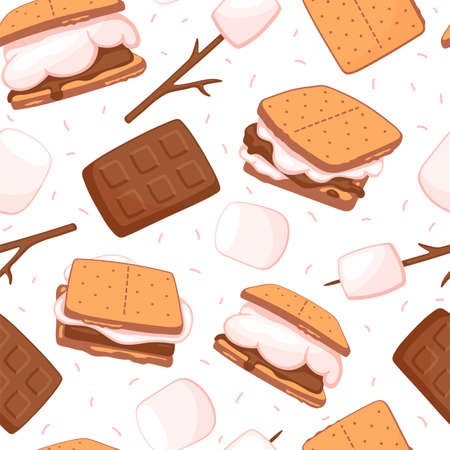 Seamless background with sweet smores - sandwiches with biscuit and chocolate.