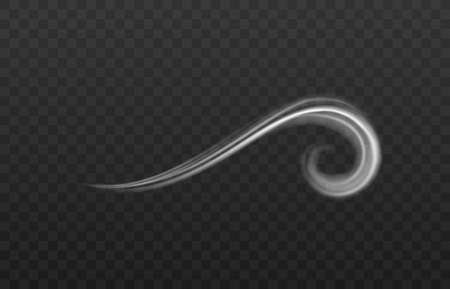 Single curve of frozen wind or fume blow, realistic vector illustration isolated. Vector Illustratie