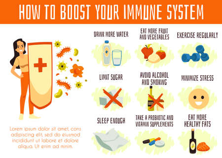 Infographic how to boost defenses of immune system cartoon vector illustration. Ilustración de vector