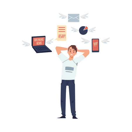 Young man overloading of information and data a vector cartoon flat illustration