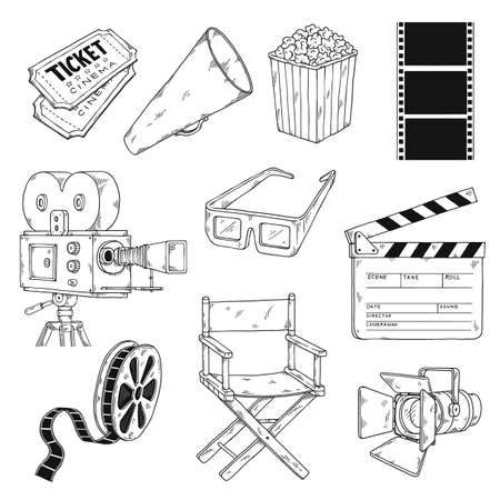 Icons set on topic of cinema and movie, engraving vector illustration isolated.