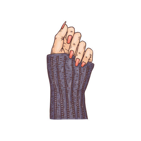Female hand with nails covered with enamel, sketch vector illustration isolated.