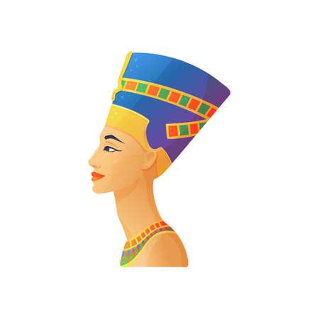 Sculpture of Nefertiti egyptian queen, flat vector illustration isolated. Ilustración de vector