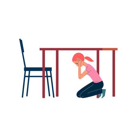 Scared girl hiding under table, cartoon school child under the desk
