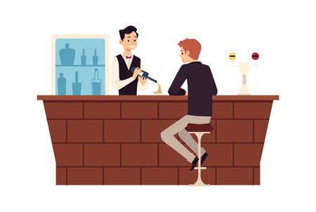 Sad man in loneliness sitting at bar counter and drink alcoholic beverages
