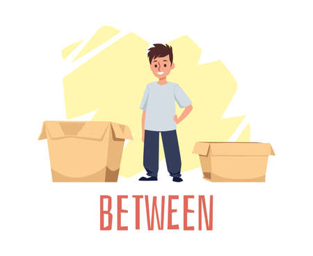 Explanation of between preposition of place, flat vector illustration isolated. Vetores