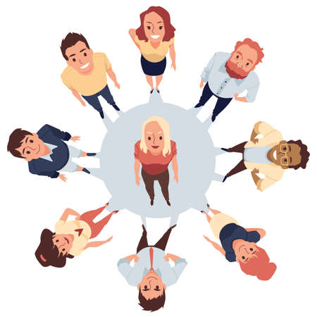 Top view of people in a circle looking up, flat vector illustration isolated.