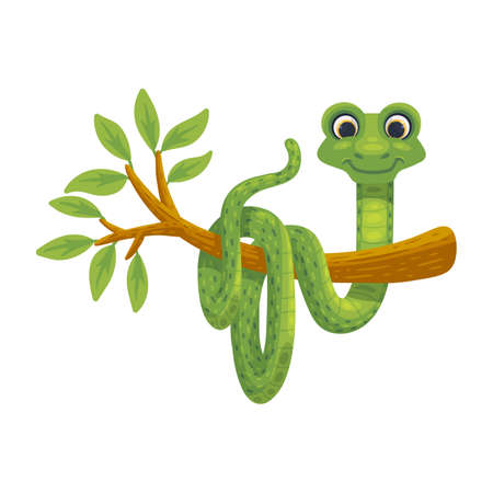 Cartoon character of snake hanging on tree, flat vector illustration isolated.