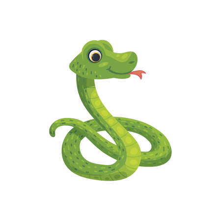 Green funny snake curled up in a ball, flat vector illustration isolated.