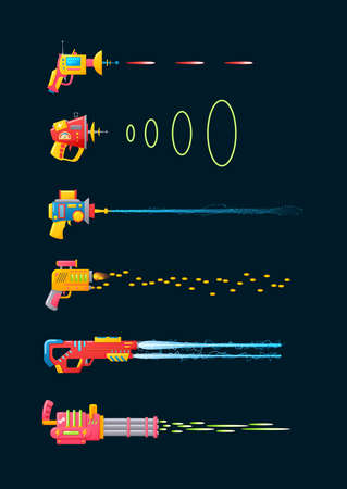 Set of retro space laser blasters or ray gun flat vector illustration isolated.
