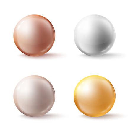 Glass color spheres, shiny circle beads or pearls with soft shadows on white.