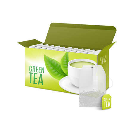 Green tea box and teabag - realistic 3D mockup with packaging design Vecteurs
