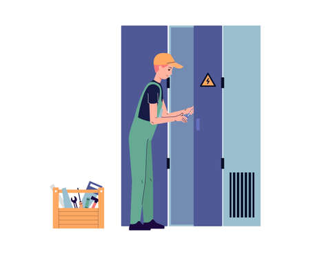 Electrician opens an electrical panel, flat vector illustration isolated.