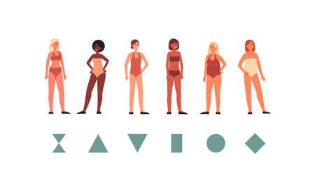Geometric scheme of women body shapes, flat vector illustration isolated.
