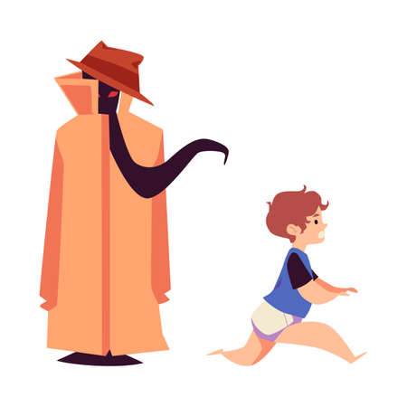 Child runs away in fear from an imaginary monster, vector illustration isolated.
