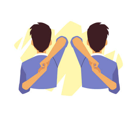 Man doing exercises to relieve neck pain, flat vector illustration isolated. Vector Illustration