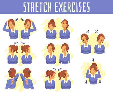 Vector banner with exercises for health and stretch of neck at office syndrome