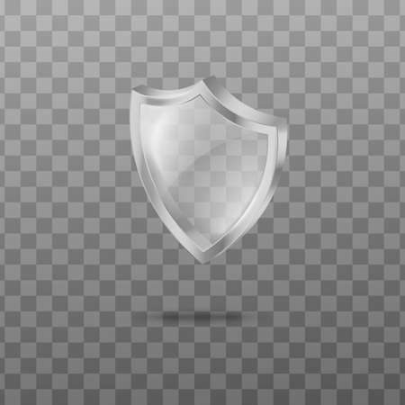 Template of clear glass or acrylic shield realistic vector illustration isolated.