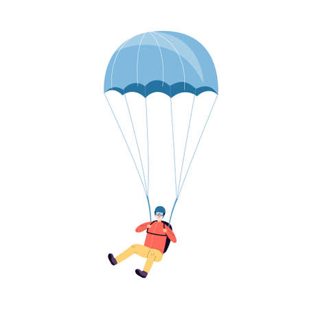 Grandfather or senior man jumps with parachute flat vector illustration isolated. Vecteurs