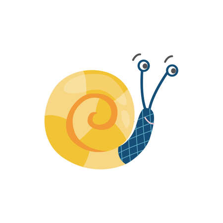 Cute cartoon snail with bit yellow shell smiling, vector illustration Ilustración de vector