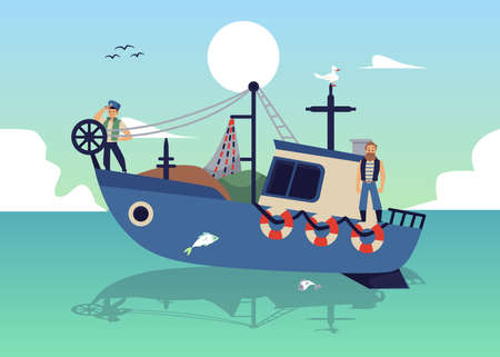 Seascape with fishers on launch boat fishing with net flat vector illustration.