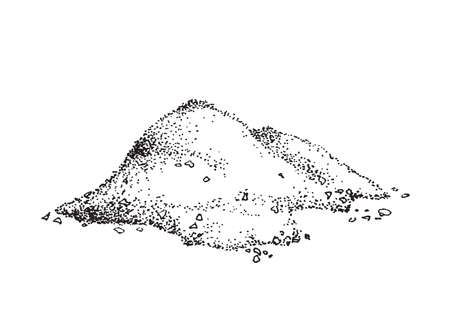 Pile of finely ground sea salt, engraving vector illustration isolated.