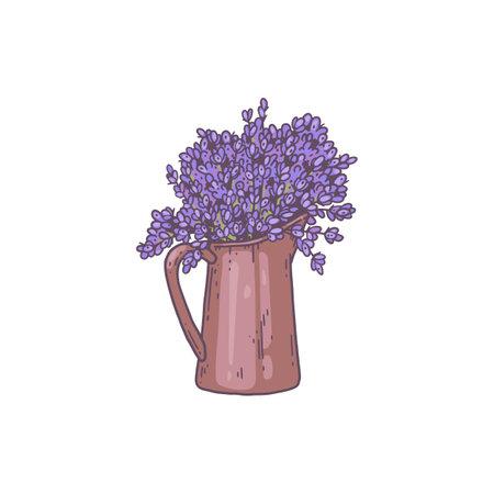Metal or ceramic jug with blooming lavender bouquet in vintage style