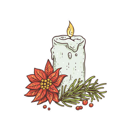 Festive burning candle with fir branches and flower poinsettia christmas star.