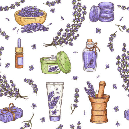 Natural cosmetic lavender seamless pattern in realistic vintage style 向量圖像