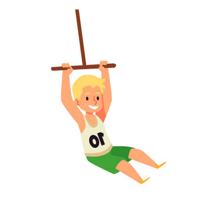 Child character rocking on bungee swing, flat vector illustration isolated. 向量圖像