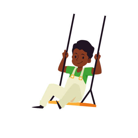 Cute african american boy rocking on swing, flat vector illustration isolated.