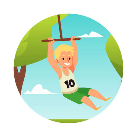 Boy is swinging on a bungee in summer park in afternoon in flat style