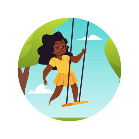 Landscape framed in circle with swinging girl, flat vector illustration isolated.