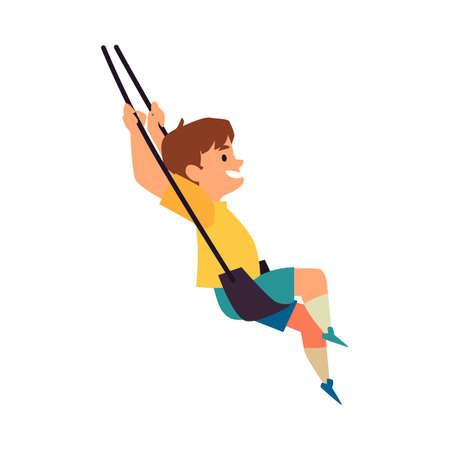 Happy smiling kid swinging on rope swing, flat vector illustration isolated.