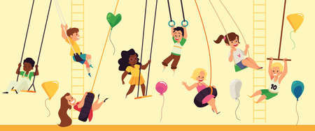Banner with children on playground rocking on swings, flat vector illustration. 向量圖像