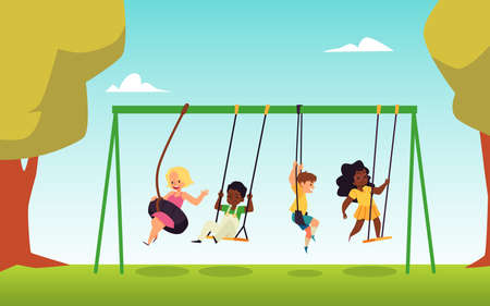 Several kids in nature park swing on swing and bungee in flat vector illustration. 向量圖像