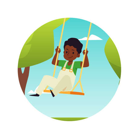 Cute boy having fun on rope swing in park on amusement attractions or playground 向量圖像