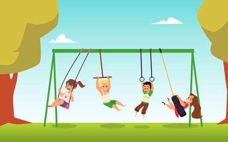 Summer park with children rocking on swings, flat vector illustration.