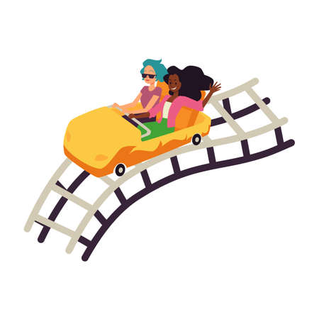 Rollercoaster attractions car on railroad, flat vector illustration isolated.