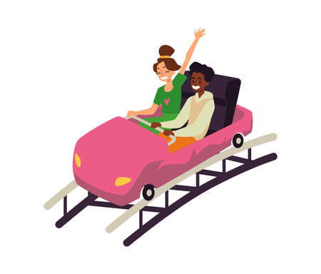 Couple riding roller-coaster attraction, flat vector illustration isolated.