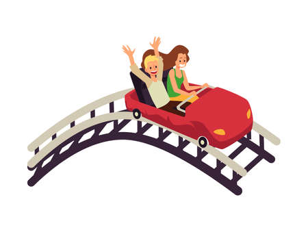 Young couple man and woman enjoying of rollercoaster in amusement park 向量圖像