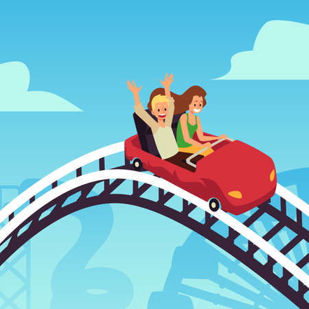 Happy young people enjoying of rollercoaster in amusement park at weekend.