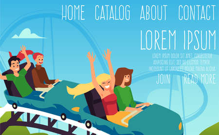 Amusement park rides and attractions web banner, flat vector illustration.
