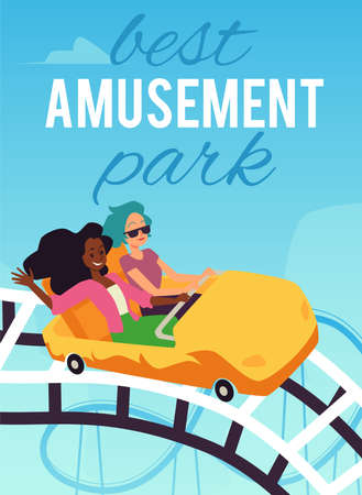 Amusement park advertising banner or poster with rides, flat vector illustration.