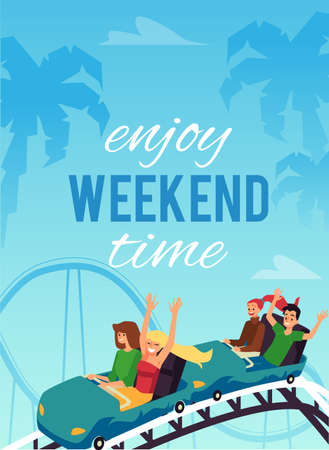 Banner or poster for amusement park attractions, flat vector illustration.