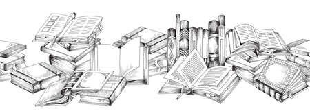 Horizontal vector banner with open and close literary books or textbooks