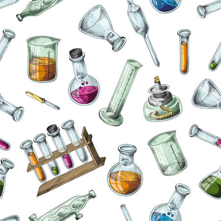 Seamless background of chemical laboratory equipment in sketch style