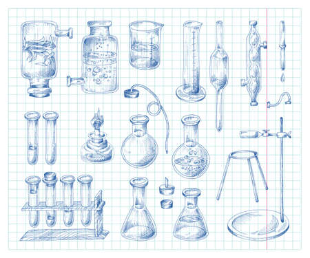 Science and chemistry equipment, hand drawn ink vector illustration isolated.