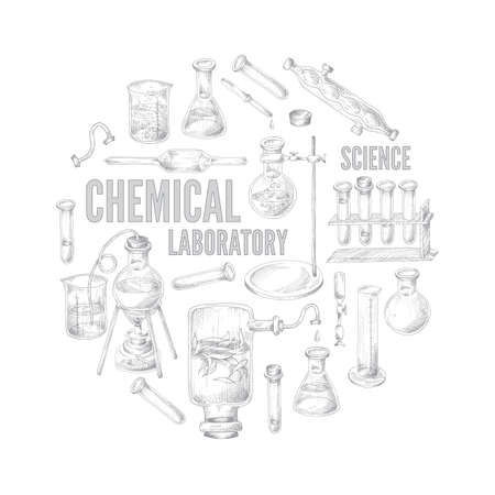 Round emblem with equipment for science experiments in chemical laboratory.